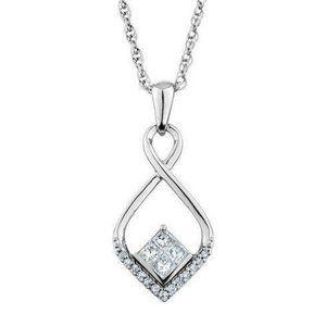 2.3 Ct Princess And Round Love Diamond Pendant 14k